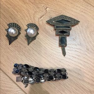 Jewelry - Vintage Pearl and marcasite sterling earrings
